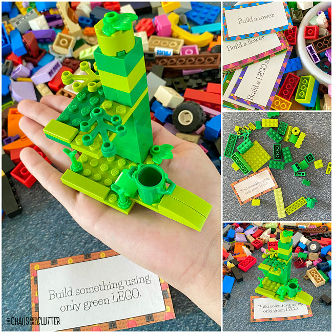 collage of photos of building blocks and creations made with those blocks