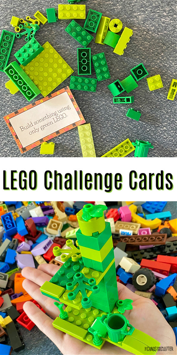 "building blocks scattered on the floor with a printed card. Text reads ""LEGO Challenge Cards"""