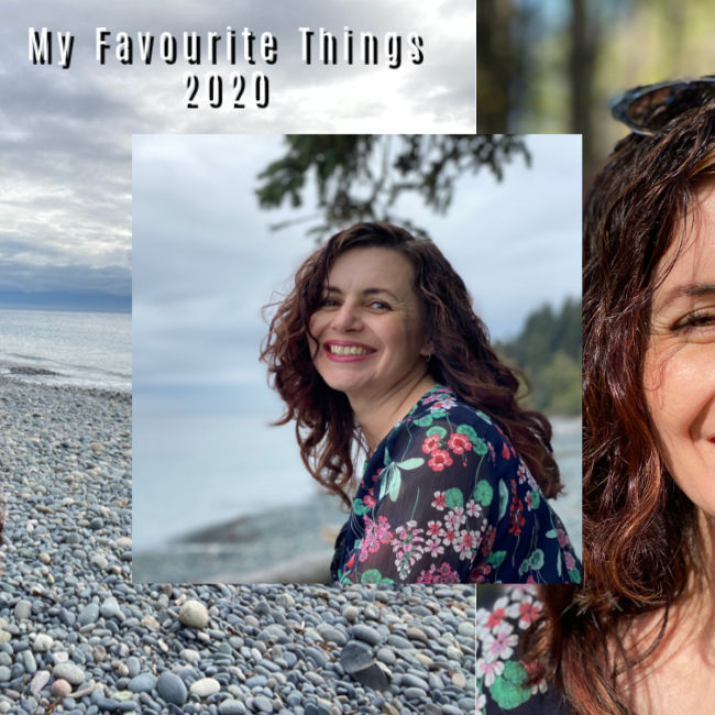 "background is pebbled beach. Lady's face. Text reads ""My Favourite Things 2020"""