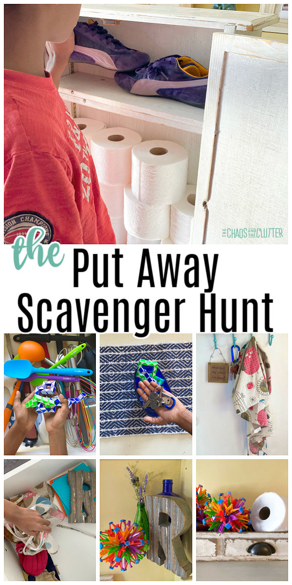 "collage of photos of things being put back where they go. Text ""the Put Away Scavenger Hunt"""