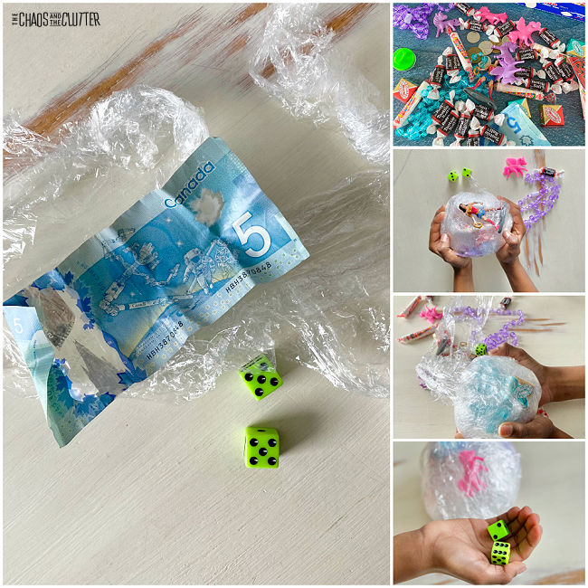 collage of photos of making a ball of plastic wrap filled with prizes