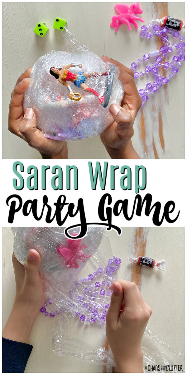 "hands holding ball made of plastic wrap with items wrapped in it. Text ""Saran Wrap Party Game"""