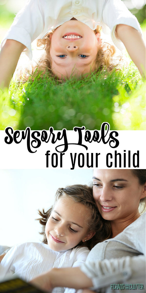 "blonde boy upside down on top image, mother and daughter reading together on bottom image. Text ""Sensory Tools for your child"""
