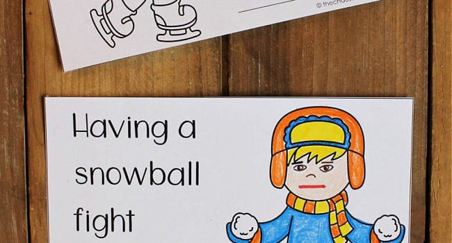 colouring pages depicting winter scenes on a wood floor