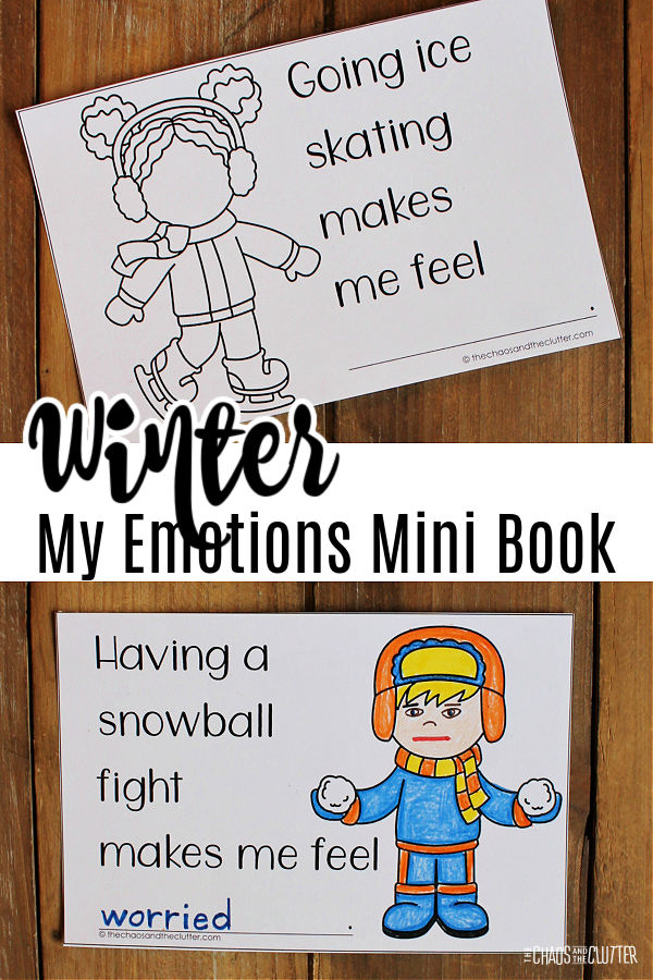 "a coloured page sits on a wood floor. Text reads ""Winter My Emotions Mini Book"""