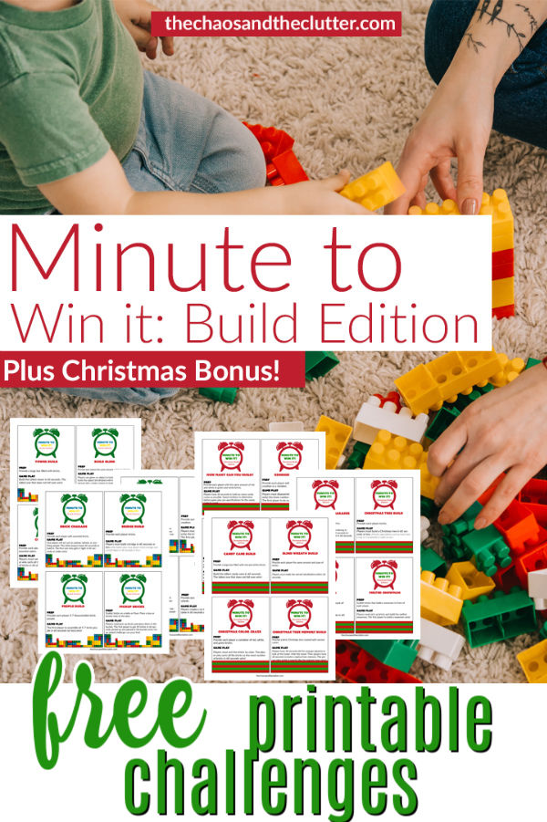 "hands assembling building blocks. Text reads ""Minute to Win It Build Edition"""