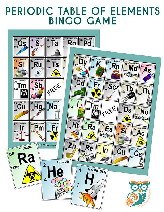 two bingo sheets of the periodic table of the elements displayed