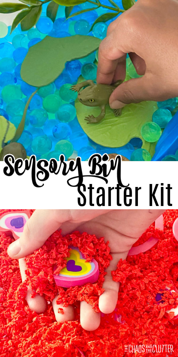 green and blue water beads and toy frogs on top. Red filler and heart shaped erasers on the bottom.