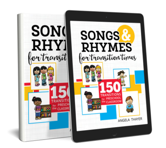 """a CD case and Ipad with the words """"Songs & Rhymes for Transition Times"""""""