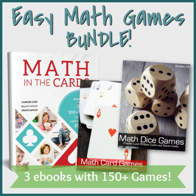 three book covers of math card and dice games