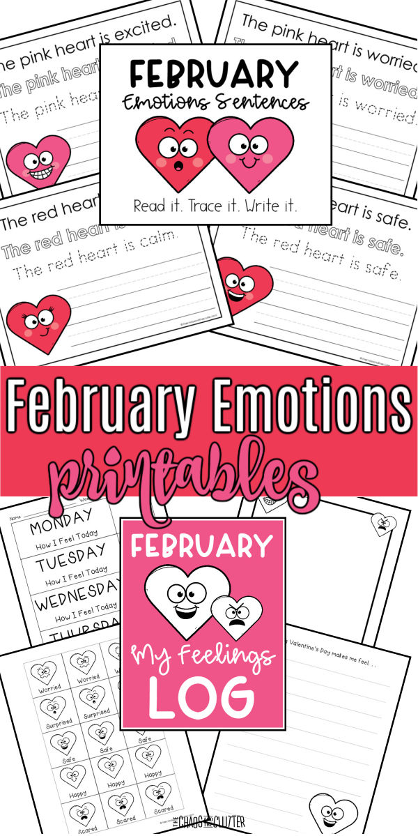 "collage of printed pages of words and heart faces with emotions on them. Text reads ""February Emotions printables"""
