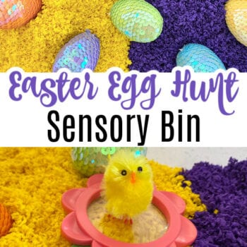 """yellow on one side, purple on the other with sparkly eggs and a fluffy chick. Text reads """"Easter Egg Hunt Sensory Bin"""""""