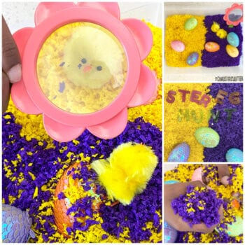 collage of photos of a yellow and purple Easter sensory bin