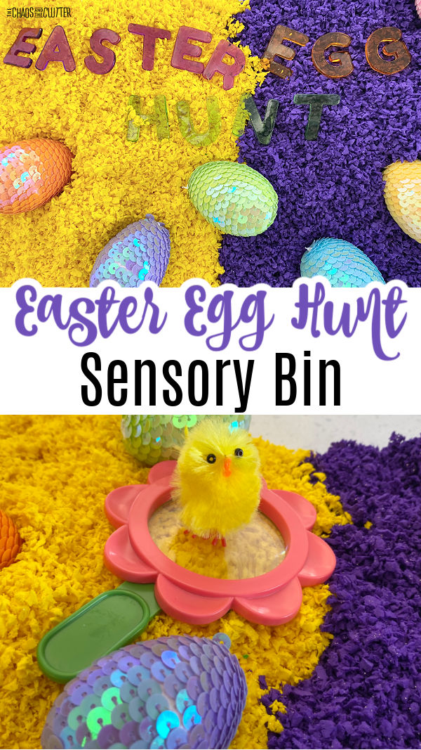 "yellow on one side, purple on the other with sparkly eggs and a fluffy chick. Text reads ""Easter Egg Hunt Sensory Bin"""