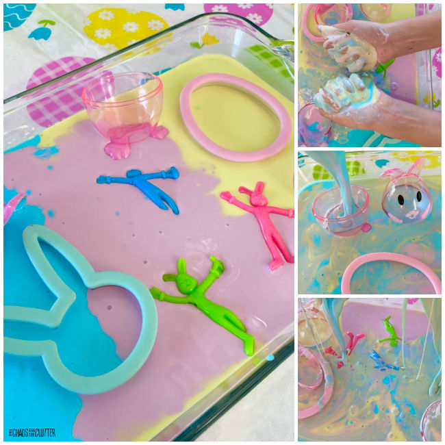 collage of photos of Easter holiday themed oobleck play