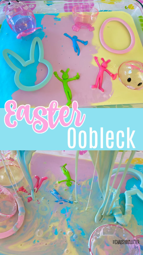 "blue, pink, and yellow goo in a baking dish with toy bunnies and eggs. Text reads ""Easter Oobleck"""