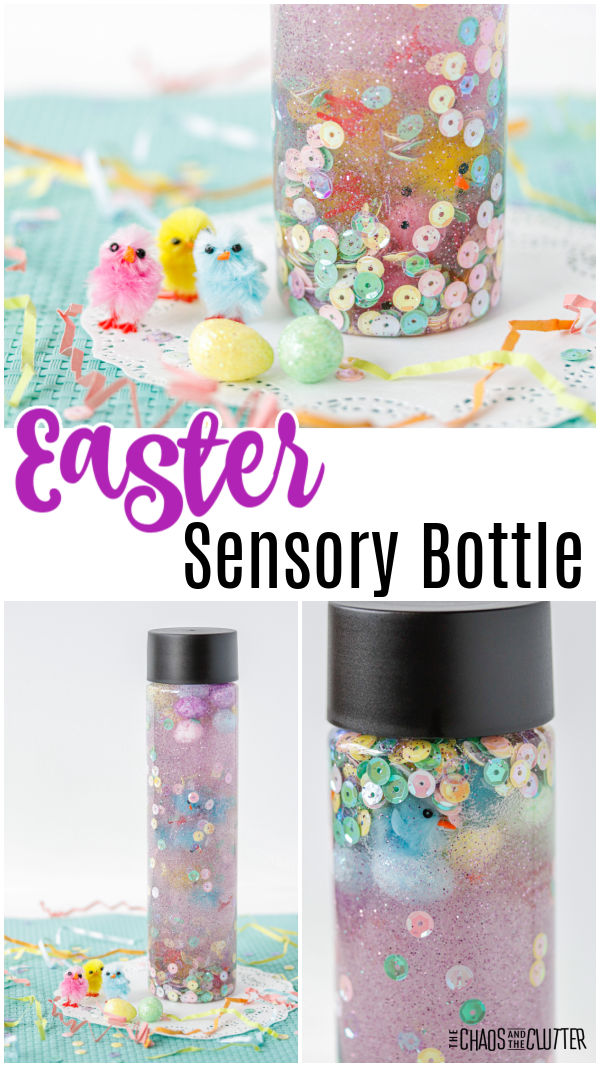 "clear bottle with sequins and glitter and eggs and chicks. Text reads ""Easter sensory bottle"""