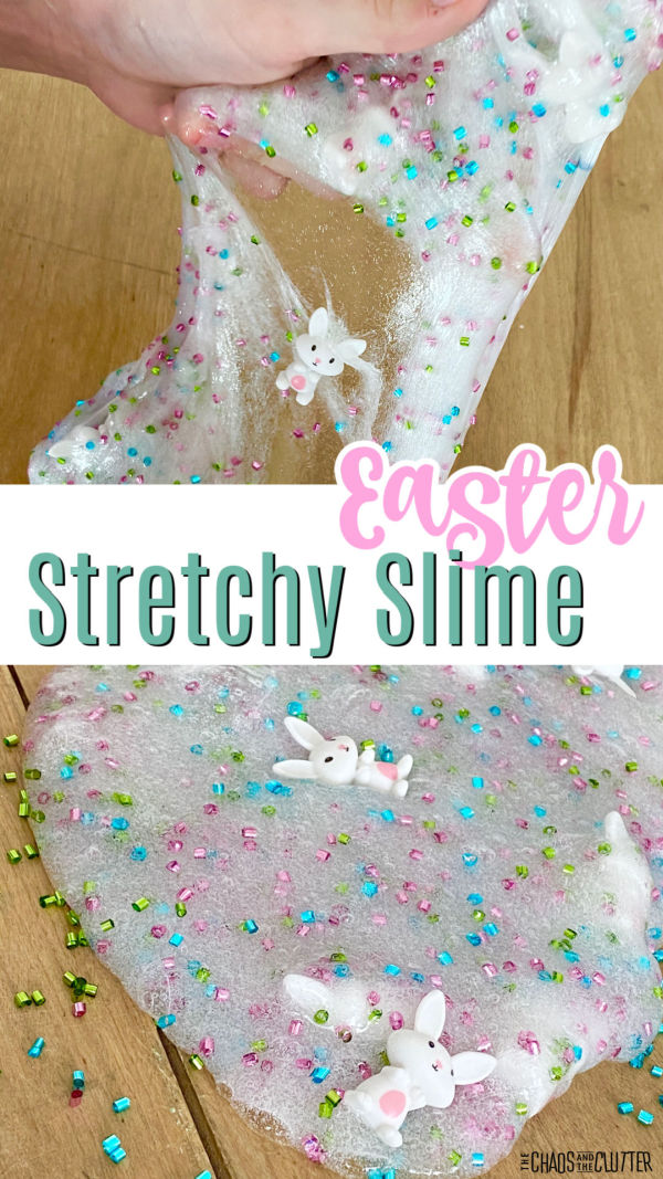 "hand stretches out white slime with bunnies. Text reads ""Easter stretchy slime"""