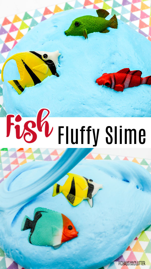 "blue blob with three bright coloured toy fish in it. Text reads ""Fish Fluffy Slime"""