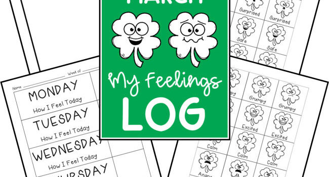 collage of papers with shamrocks with emotion faces