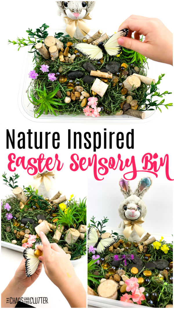 "stuffed bunny, moss, grass, sticks, and toy insects. Text reads ""Nature Inspired Easter Sensory Bin"""
