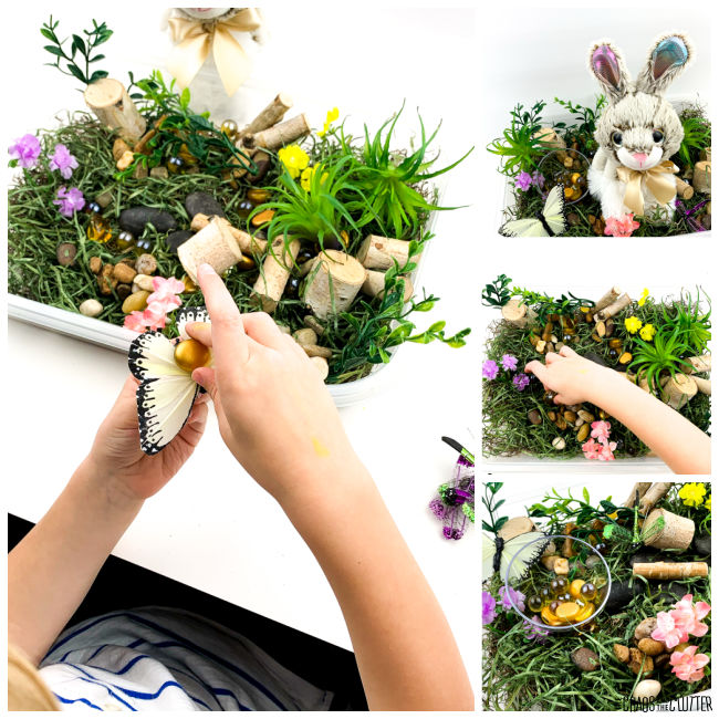 collage of photos of a hand playing in a Spring sensory bin