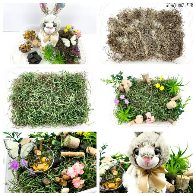 collage of photos of creating an Easter sensory bin