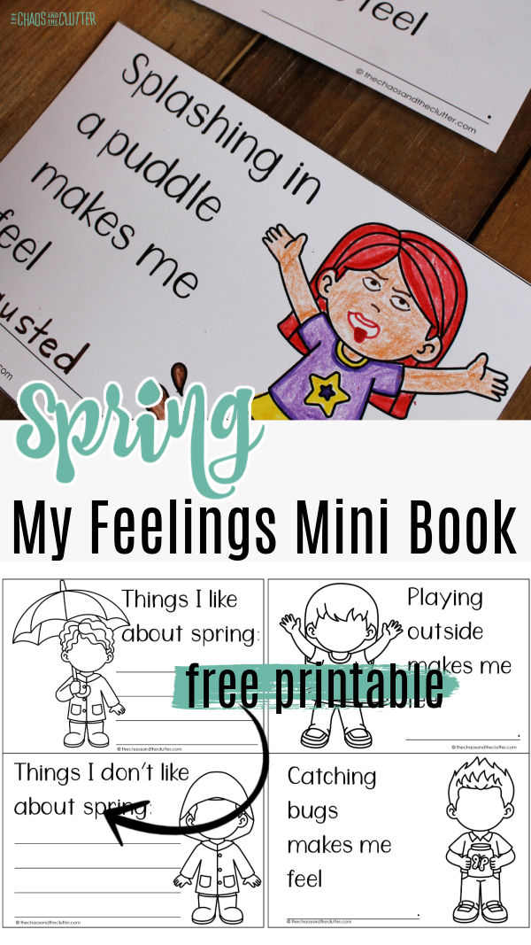 "printed pages with some coloured. Text reads ""Spring My Feelings Mini Book"""