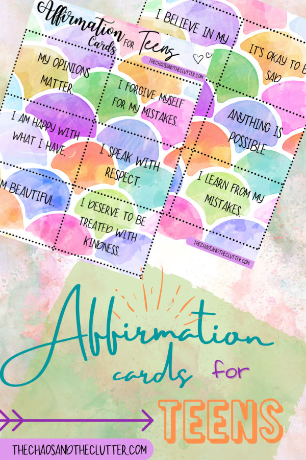 bright cheerful colours displaying affirmation cards for teens